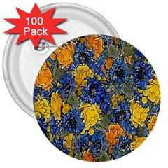 Floral Pattern Background 3  Buttons (100 Pack)  by Simbadda