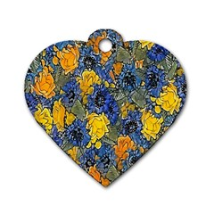 Floral Pattern Background Dog Tag Heart (two Sides) by Simbadda