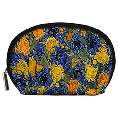 Floral Pattern Background Accessory Pouches (large)  by Simbadda