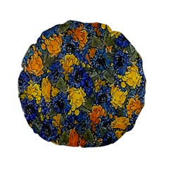 Floral Pattern Background Standard 15  Premium Flano Round Cushions by Simbadda