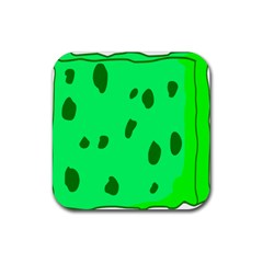 Alien Spon Green Rubber Coaster (square)