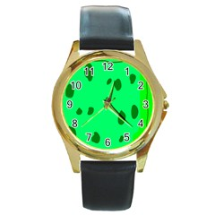 Alien Spon Green Round Gold Metal Watch by Alisyart