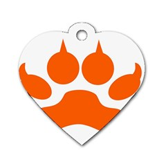 Bear Paw Dog Tag Heart (one Side) by Alisyart