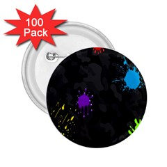 Black Camo Spot Green Red Yellow Blue Unifom Army 2 25  Buttons (100 Pack)