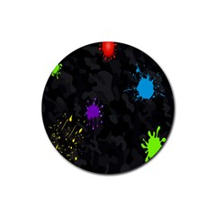 Black Camo Spot Green Red Yellow Blue Unifom Army Rubber Round Coaster (4 Pack)  by Alisyart