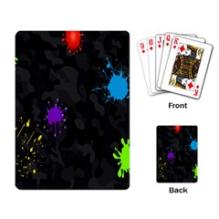 Black Camo Spot Green Red Yellow Blue Unifom Army Playing Card by Alisyart