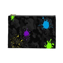 Black Camo Spot Green Red Yellow Blue Unifom Army Cosmetic Bag (large)