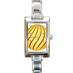 Yellow Striped Easter Egg Gold Rectangle Italian Charm Watch