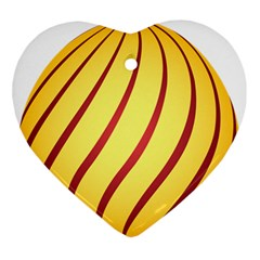 Yellow Striped Easter Egg Gold Ornament (heart)