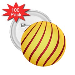 Yellow Striped Easter Egg Gold 2 25  Buttons (100 Pack)  by Alisyart