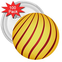 Yellow Striped Easter Egg Gold 3  Buttons (100 Pack)