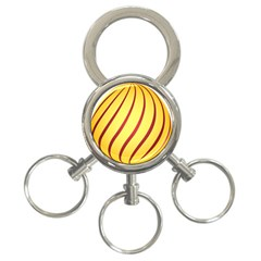 Yellow Striped Easter Egg Gold 3 Ring Key Chains