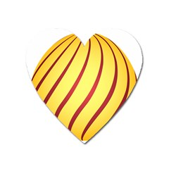 Yellow Striped Easter Egg Gold Heart Magnet by Alisyart