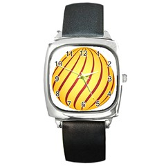 Yellow Striped Easter Egg Gold Square Metal Watch