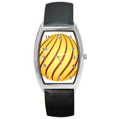 Yellow Striped Easter Egg Gold Barrel Style Metal Watch by Alisyart