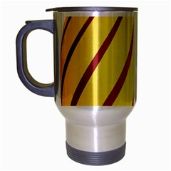 Yellow Striped Easter Egg Gold Travel Mug (silver Gray)