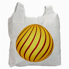Yellow Striped Easter Egg Gold Recycle Bag (one Side) by Alisyart