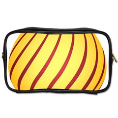 Yellow Striped Easter Egg Gold Toiletries Bags 2 Side