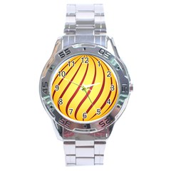Yellow Striped Easter Egg Gold Stainless Steel Analogue Watch by Alisyart