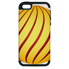 Yellow Striped Easter Egg Gold Apple Iphone 5 Hardshell Case (pc+silicone) by Alisyart