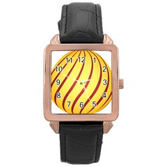 Yellow Striped Easter Egg Gold Rose Gold Leather Watch  by Alisyart