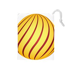 Yellow Striped Easter Egg Gold Drawstring Pouches (medium)  by Alisyart