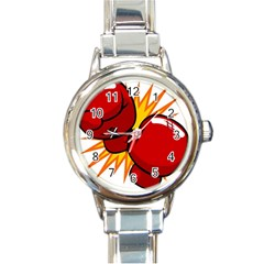 Boxing Gloves Red Orange Sport Round Italian Charm Watch