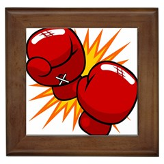 Boxing Gloves Red Orange Sport Framed Tiles