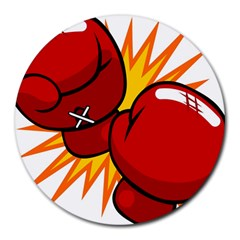 Boxing Gloves Red Orange Sport Round Mousepads by Alisyart
