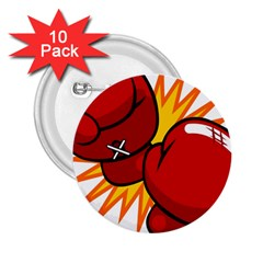 Boxing Gloves Red Orange Sport 2 25  Buttons (10 Pack)  by Alisyart