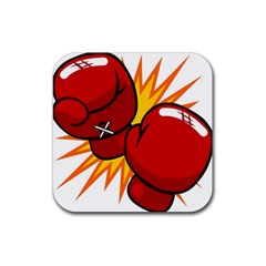 Boxing Gloves Red Orange Sport Rubber Coaster (square)