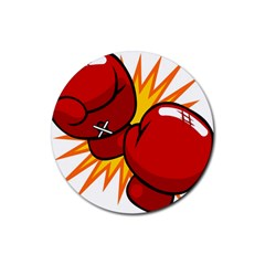 Boxing Gloves Red Orange Sport Rubber Round Coaster (4 Pack)