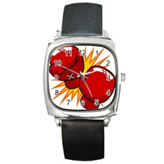 Boxing Gloves Red Orange Sport Square Metal Watch by Alisyart
