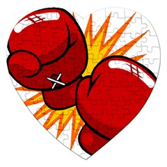 Boxing Gloves Red Orange Sport Jigsaw Puzzle (heart) by Alisyart