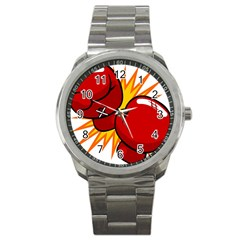 Boxing Gloves Red Orange Sport Sport Metal Watch by Alisyart