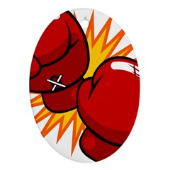 Boxing Gloves Red Orange Sport Oval Ornament (two Sides) by Alisyart