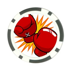 Boxing Gloves Red Orange Sport Poker Chip Card Guard