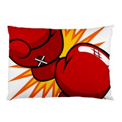 Boxing Gloves Red Orange Sport Pillow Case by Alisyart