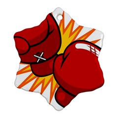 Boxing Gloves Red Orange Sport Ornament (snowflake) by Alisyart