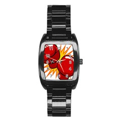 Boxing Gloves Red Orange Sport Stainless Steel Barrel Watch by Alisyart
