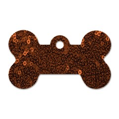 Brown Sequins Background Dog Tag Bone (two Sides) by Simbadda