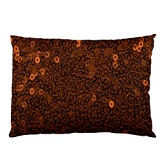 Brown Sequins Background Pillow Case by Simbadda