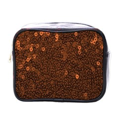 Brown Sequins Background Mini Toiletries Bags