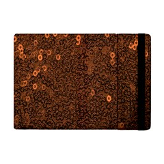 Brown Sequins Background Apple Ipad Mini Flip Case by Simbadda