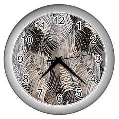 Floral Pattern Background Wall Clocks (silver)  by Simbadda