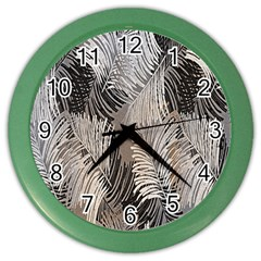 Floral Pattern Background Color Wall Clocks by Simbadda