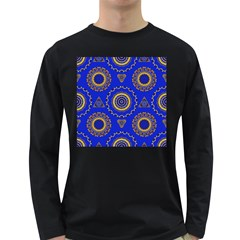 Abstract Mandala Seamless Pattern Long Sleeve Dark T Shirts by Simbadda