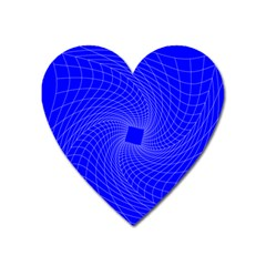 Blue Perspective Grid Distorted Line Plaid Heart Magnet by Alisyart