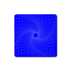 Blue Perspective Grid Distorted Line Plaid Square Magnet by Alisyart