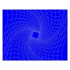 Blue Perspective Grid Distorted Line Plaid Rectangular Jigsaw Puzzl by Alisyart